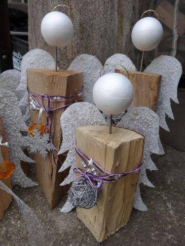 Kaminholz Engel basteln   unserideenreich