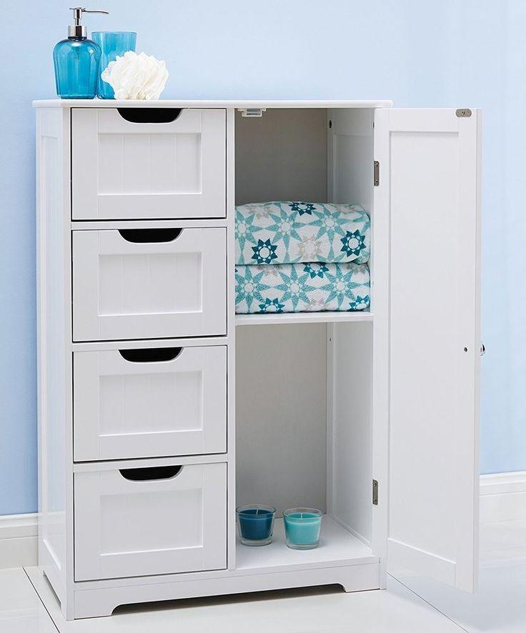 White Wooden Bathroom Cabinet Kitchen Furniture 4 Drawers Storage Cupboard  Unit
