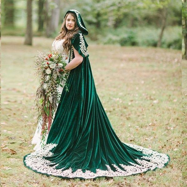 Celtic cape green cloak chiffon wedding cape