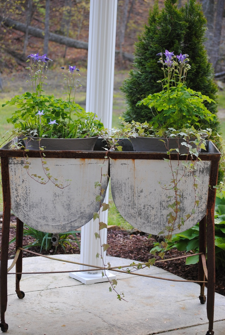 Primitive country gardens - Old Washtub With Flower Pots Columbine Blooming