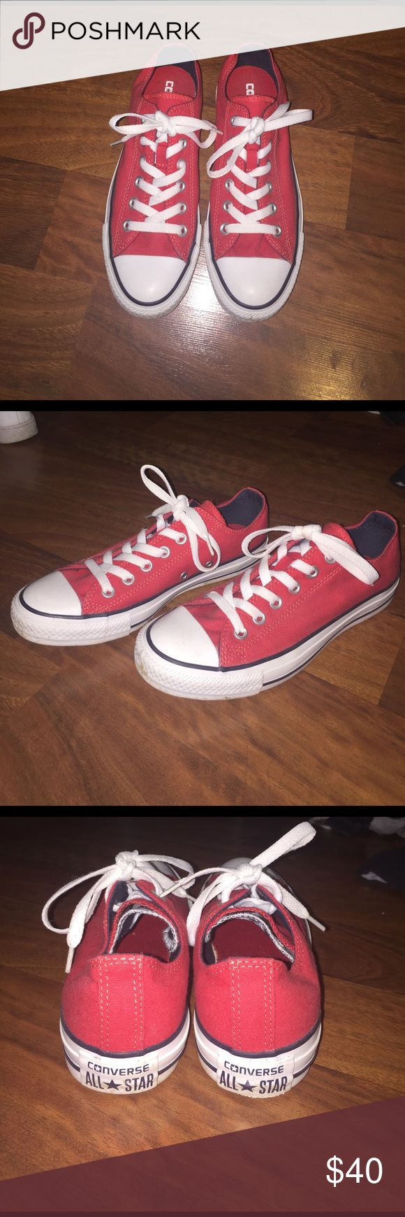 Sparkly clean red low top converse!! Red converse wth white laces. Great condition. Only worn a few times. Converse Shoes Sneakers