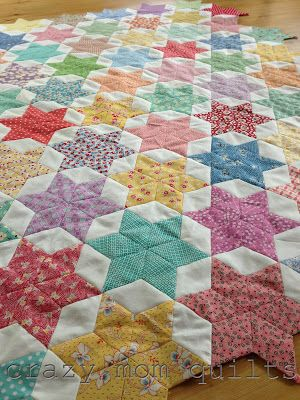 English paper piecing star and diamond quilt