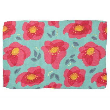 Spring Floral Pattern With Bright Pink Petals Towel - floral style flower flowers stylish diy personalize