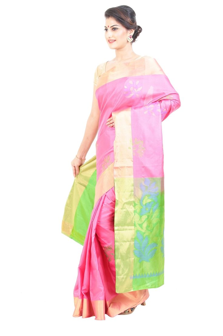 Give a statement to your ‪#‎style‬ with adding a sizzling touch to your ‪#‎elegant‬ beauty, and for that the best option is here the ultimate ‪#‎Uppada‬ ‪#‎Silk‬ ‪#‎saree‬ designed gorgeously with full body in Light Pink color and carved with classy floral bud motives