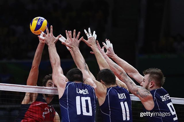 Uh oh. USA Volleyball's Aaron Russell has nowhere to go with it against the…