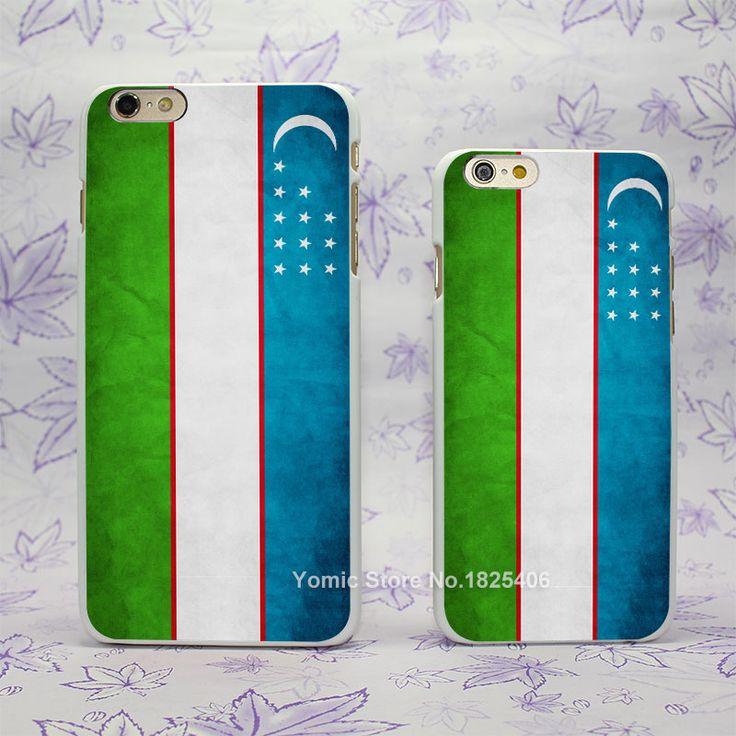 Uzbekistan flag Design hard White Skin Case Cover for Apple iPhone 4 4s 4g 5 5s 5c 6 6s 6 Plus 6splus