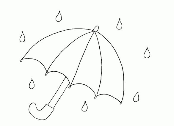 Umbrella colouring page kindergarten pinterest for Printable umbrella template for preschool