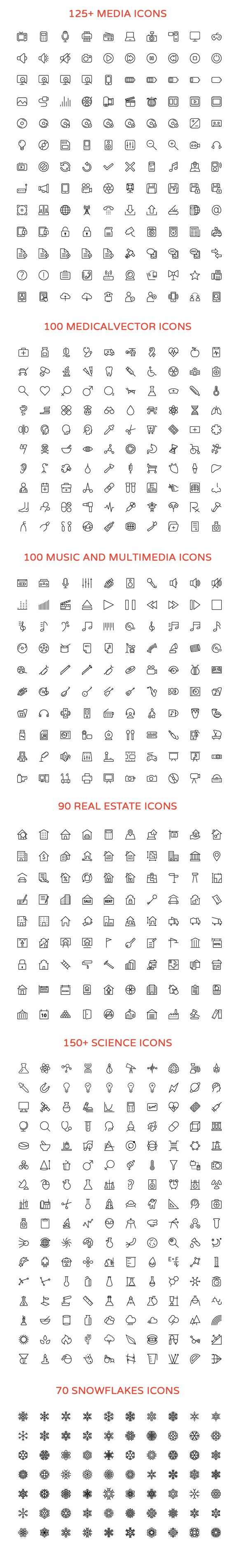 2800+ Line #Vector #Icons Bundle by Creative Stall http://crtv.mk/u3U9
