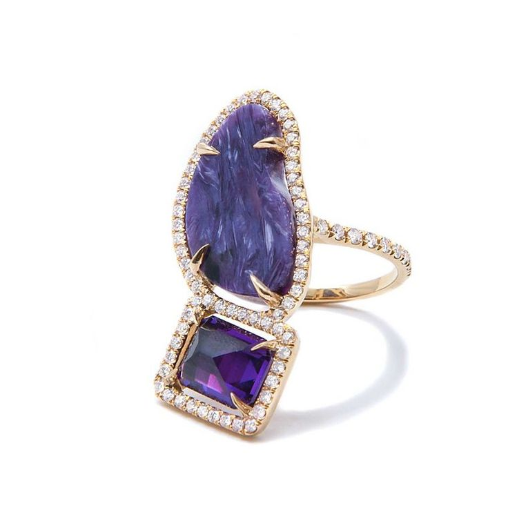 An inverted emerald-cut amethyst is juxtaposed against a rough-cut slice of purple charoite in this contemporary cocktail ring by Jordan Alexander (£6,180). Interested about semi precious gemstones? http://www.thejewelleryeditor.com/jewellery/where-do-semi-precious-stones-come-from-around-world/ #jewelry #purple