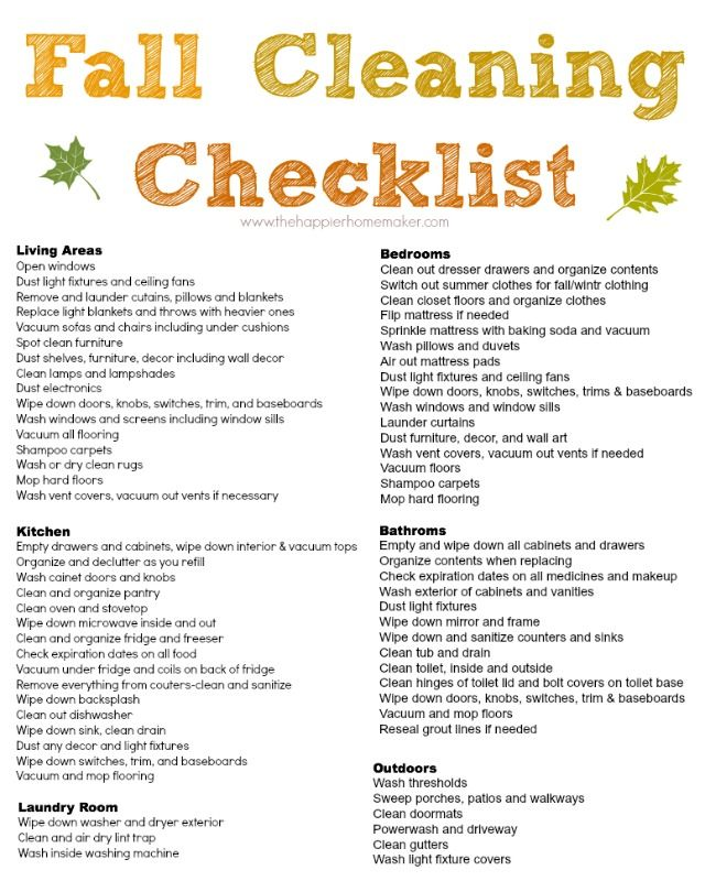 Free Fall Cleaning Checklist
