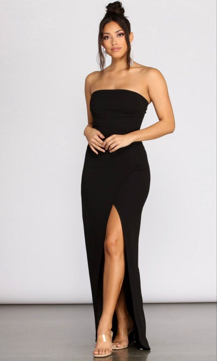 Tasha Strapless Crepe Dress Black Dresses Classy Cocktail Dress Classy Long Black Strapless Dress [ 1200 x 721 Pixel ]