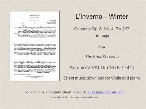 Four Seasons - Winter 2/3 www.sheetmusic2print.com/Vivaldi/Four-Seasons-Winter-Largo.aspx