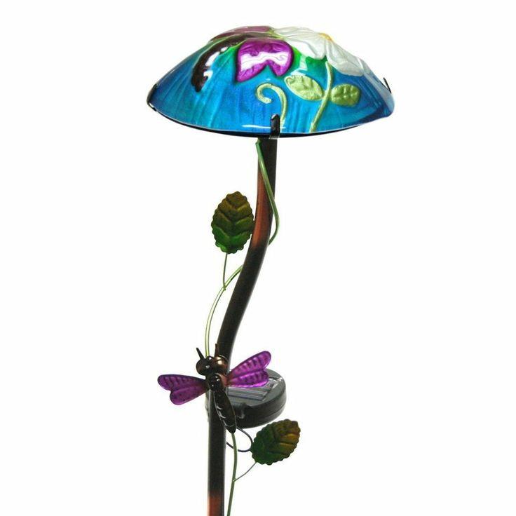 Regal Art And Gift Solar Mushroom Stake Dragonfly Garden Decor