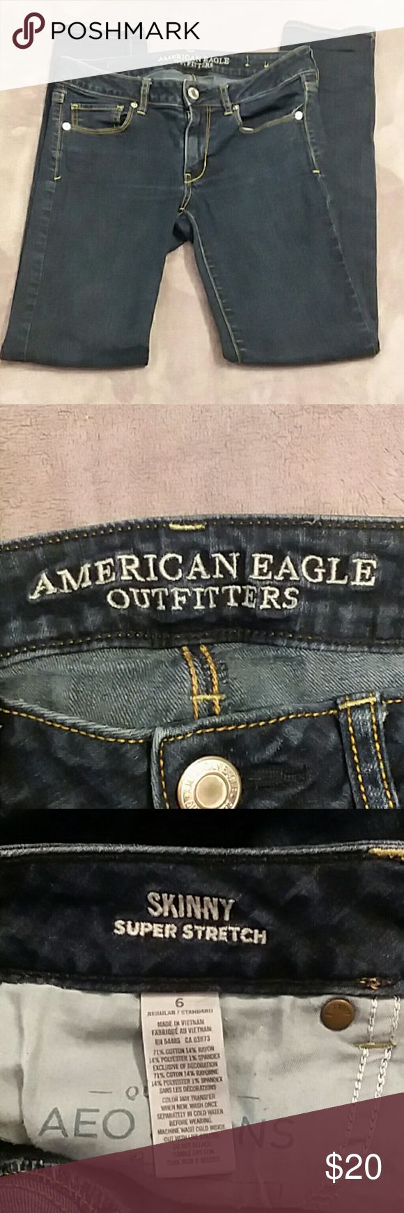 AEO women's size 6 skinny super stretch jeans American Eagle women's size 6 dark wash skinny super stretch jeans. Great condition no signs of wear American Eagle Outfitters Jeans Skinny