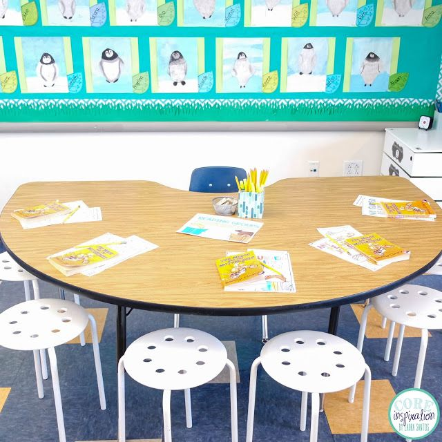 Our reading table. Perfect for small group instruction in second grade. No need for students to bring supplies...everything is stored in that little white tower to the right.