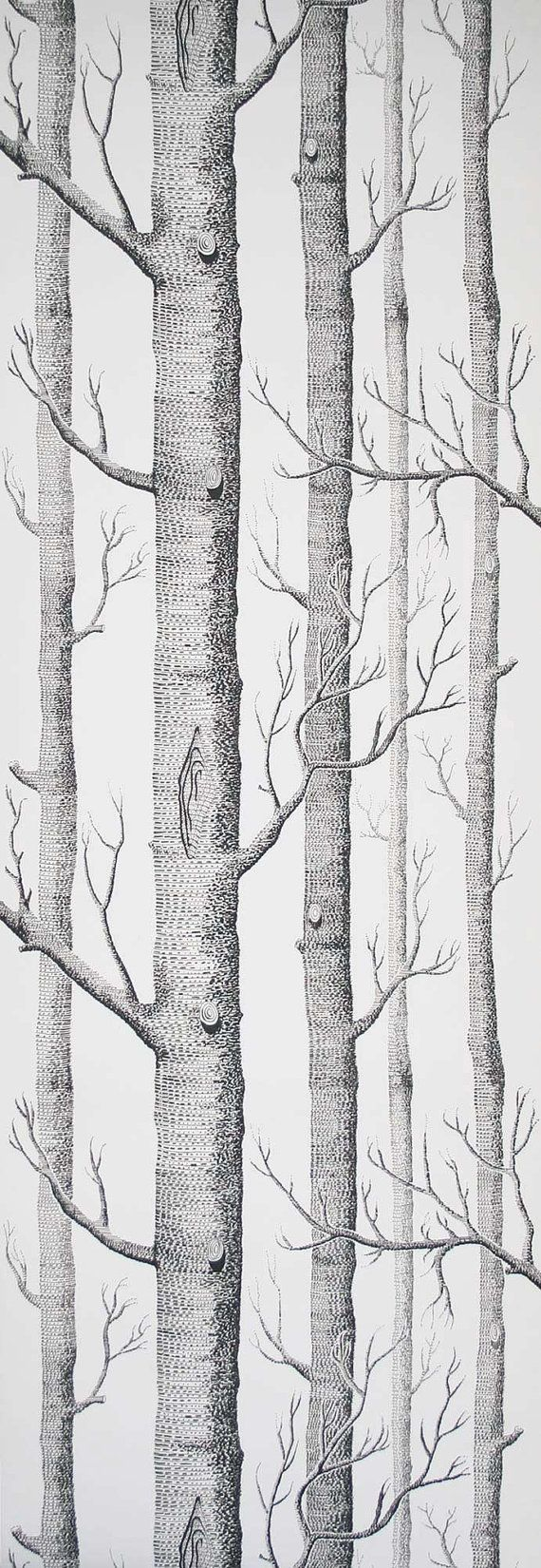 Cole and Son Wallpaper Woods Black on White ONE METRE by romolly