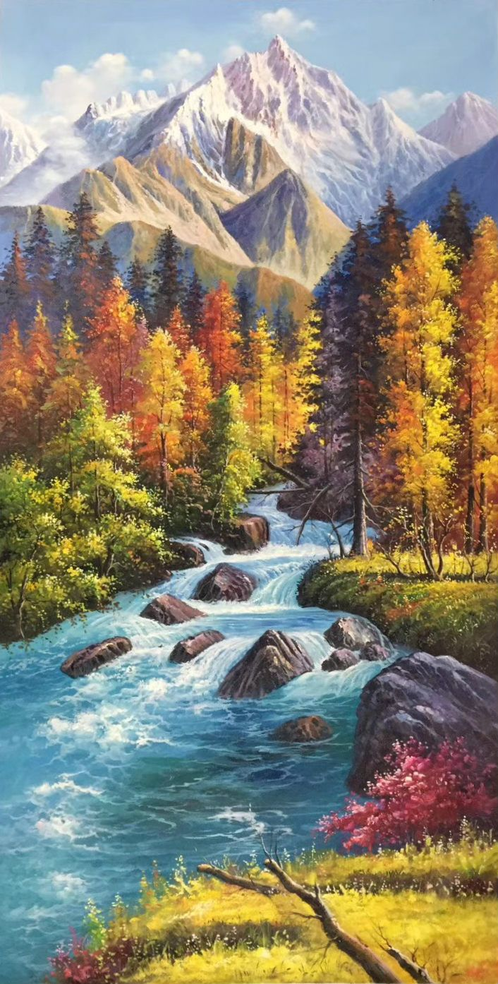 Id 599 Size 80x160cm 33 X63 Inch 100 Hand Made Oil Painting Decoration Murals Art Home D Fall Landscape Painting Landscape Art Painting Oil Painting Nature