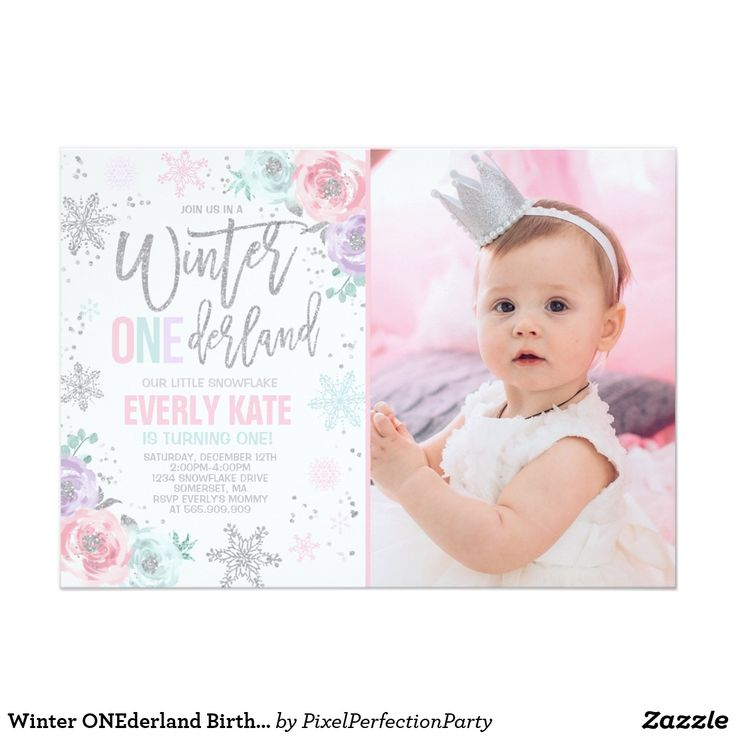 winter onederland birthday invitation pink silver giftidea gift present idea one first bday birthday party - Winter Onederland Party Invitations