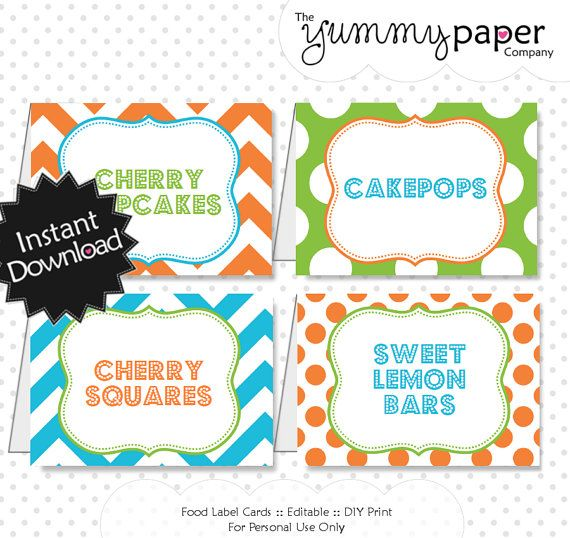 Editable Splish Splash Party Food Labels  Instant by yummypaper, $4.00