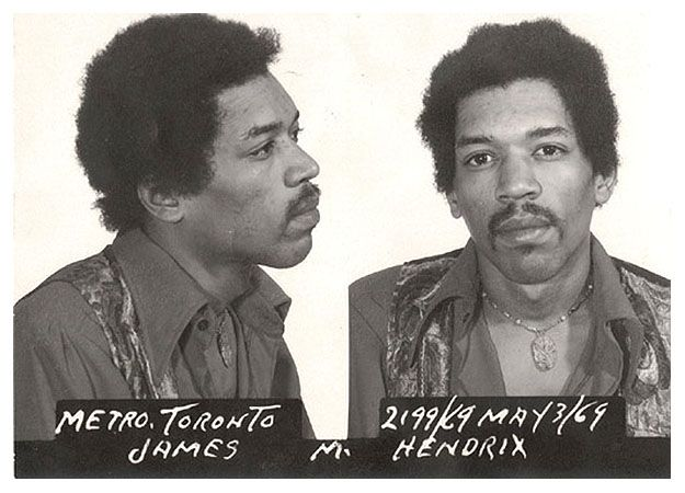 In May of 1969, Hendrix was arrested for heroin possession in Toronto.  The charges were later dismissed.