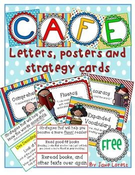 Cafe is trademarked by the two sisters who do not endorse or promote this product! Please read their books if you are interested in implementing this program into your classroom. www.the2sisters.com   Included are the letters that spell out CAFE.  Posters that explain the meaning of the letters in Café.
