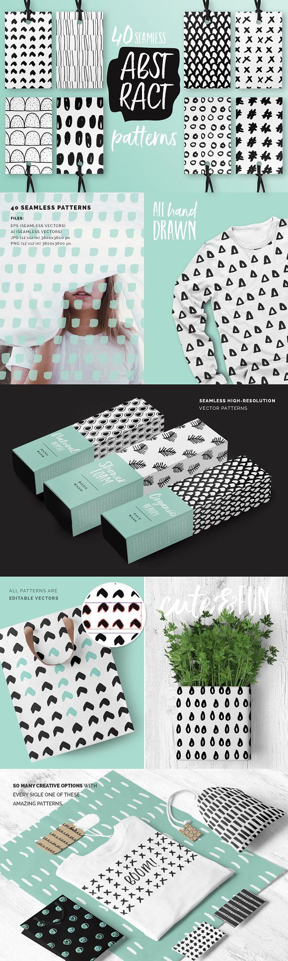 Abstract Seamless Patterns by Youandigraphics on @creativemarket