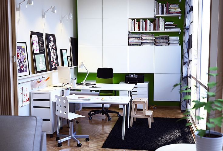 IKEA Catalog: Inspiring Pictures for Your Beautiful House : Tasteful Home Office Designed With Modern Desks And Chairs Equipped With Interesting Wall Arts And Wall Units From Ikea Catalogue