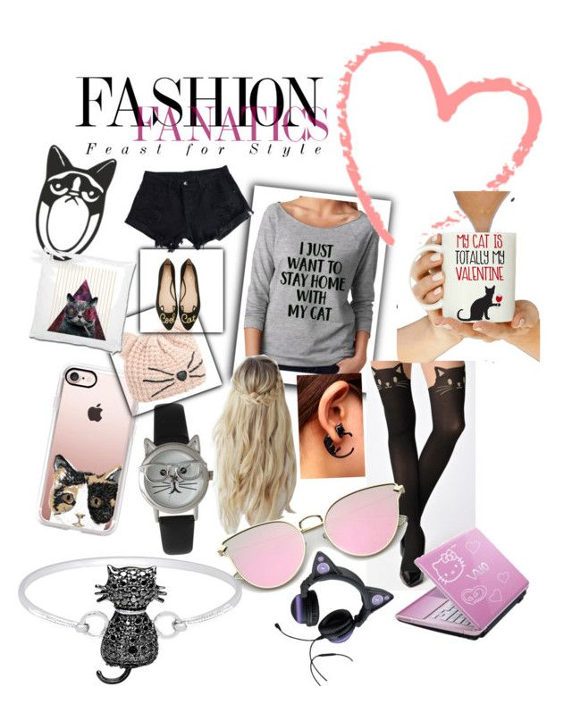 Cool Cats by bubblegum13fuschia on Polyvore featuring polyvore, fashion, style, WithChic, Kate Spade, Olivia Pratt, Casetify, Karl Lagerfeld, Finesque, Love you a Latte Shop, Hello Kitty and clothing