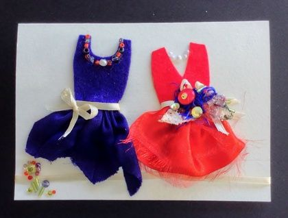 Wedding congratulations: two fabulous brides' dresses - bright red and purple (LQB010)