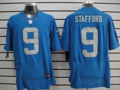 Nike Detroit Lions #9 Matthew Stafford Navy Blue Elite Jersey