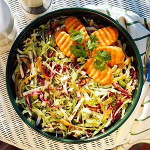 Jicama Coleslaw This low-calorie, high-fiber side dish recipe is a good alternative to traditional coleslaw recipes, which tend to be higher in fat.