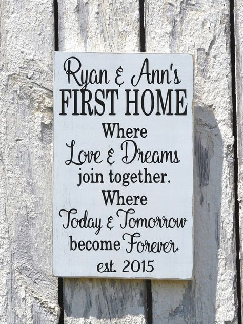 Our First Home House Wooden Sign, Rustic Personalized Plaque Housewarming Wedding Gift Names Established Date Custom Wood Entryway Welcome