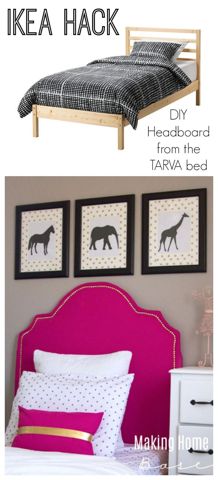 Awesome IKEA bed hack. Take a TARVA twin bed and make a fabulous and sophisticated DIY upholstered headboard with nailhead trim. Really beautiful!