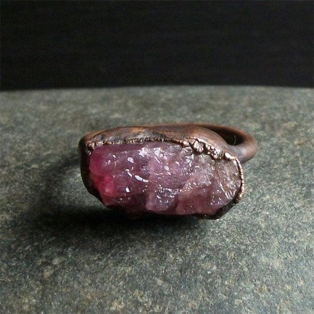 Turmalin Ring Größe 9 Edelstein roh Crystal Ring von MidwestAlchemy