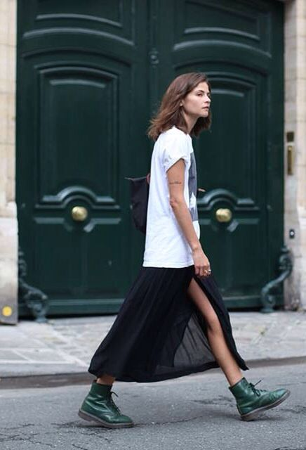 green dr. martins with black high slit maxi skirt and graphic t-shirt // cool grunge style