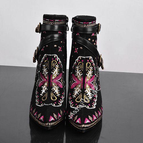 Beste Online Shoespie Afdrukken Pinted Teen Stiletti Hak Enkellaars