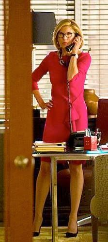 """Diane's St. John Collection Red Milano Knit Bateau Neck Long Sleeve Draped Dress The Good Wife Season 6, Episode 1: """"The Line"""""""