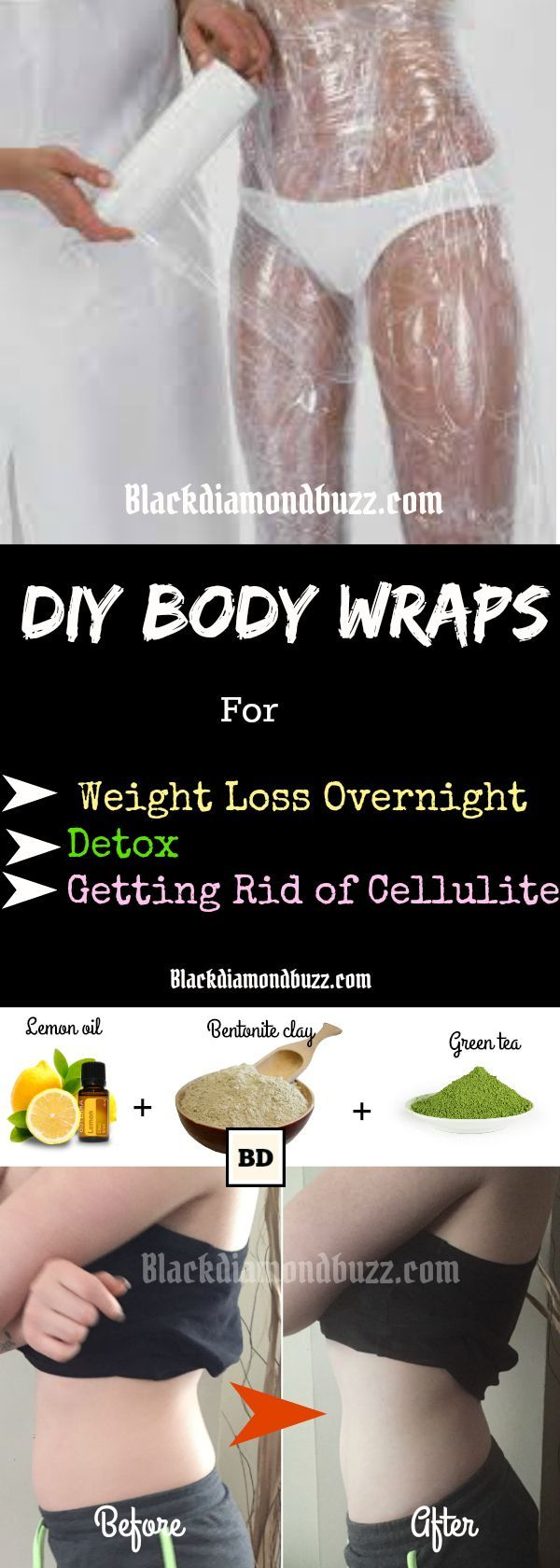 DIY Body Wraps - Do you want to get rid of body fat and lose some weight? If yes, try this diy body wraps for weight loss, detox, and getting rid of cellulite fast. It is not expensive and you can make it at home easy  with some active ingredient like, apple cider vinegar,lemon oil, bentonite, green tea and seaweed