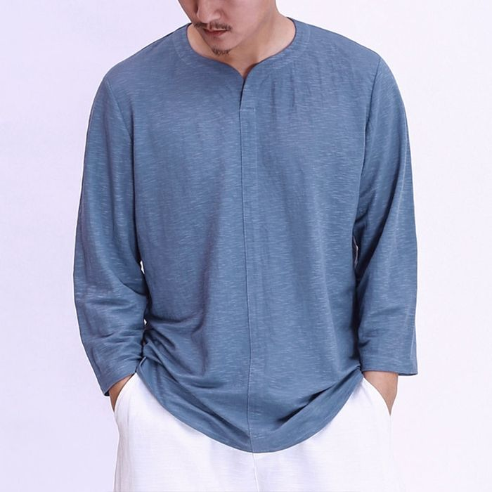0017b741b90 US$ 21.48 - TWO-SIDED Mens Vintage Chinese Style Cotton Solid Color ...