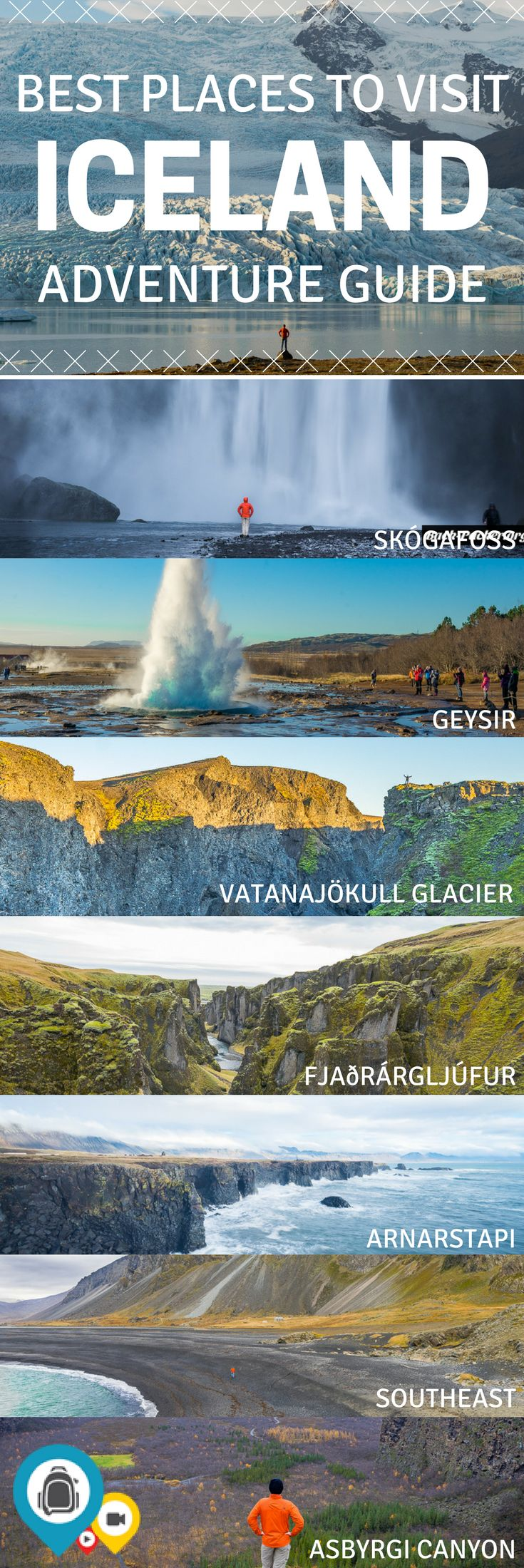 A complete guide for a trip to Iceland in the winter or summer. Take a day trip from Reykjavik to the Skógafoss falls. Ditch the Blue Lagoon and find a smaller hot spring with far less people. Explore the sights along the Golden Circle. Travel to Iceland with the perfect itinerary. | Back-packer.org #Iceland