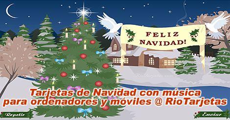 Tarjetas musicales de Navidad compatibles con celulares teléfonos, móviles, iPhone, Android y ordenadores @ RioTarjetas.com AQUÍ: http://www.riotarjetas.com/tarjetas_de_navidad.html