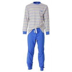 Felblauwe knallende broek bij herenpyjama met grijze top omlijnd door dubbele blauwe lijntjes