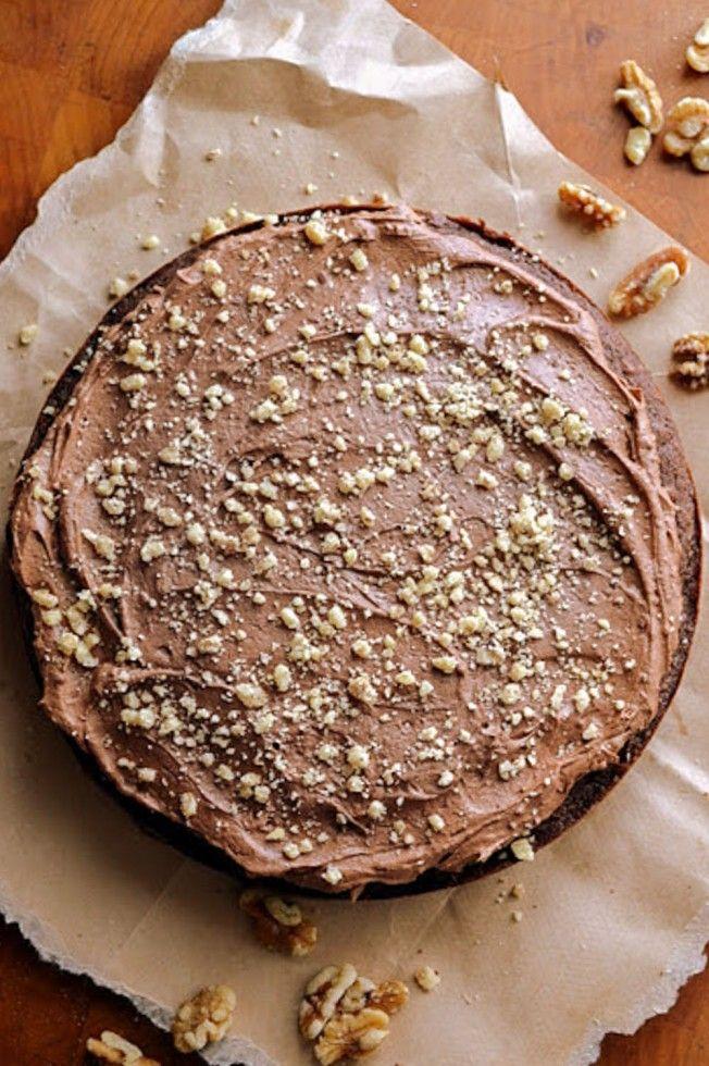 rich dark chocolate walnut cake