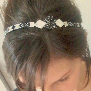 Bijou de tête / bandeau de cheveux / serre tête / headband tissé motif géométrique et glitter paillettes noir, argenté et blanc