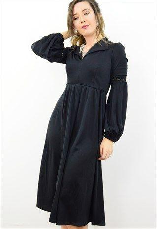 Vintage+70s+black+bell+sleeve+boho+midi+dress