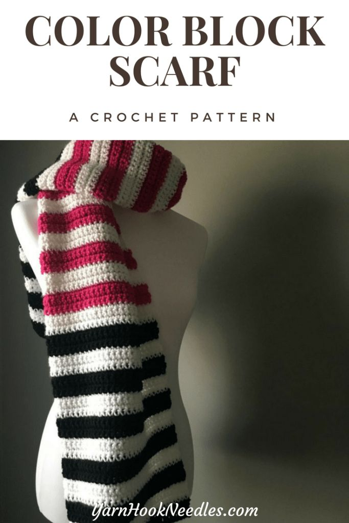 Color Block Crochet Scarf with FREE Pattern