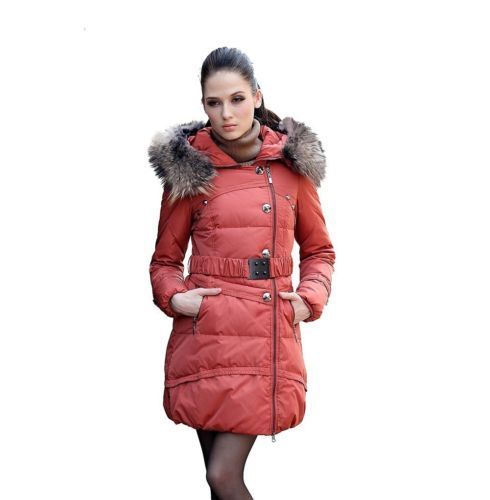 Women's Ladies Down Jacket Fur Collar Coat Winter with Belt, Orange, size XL