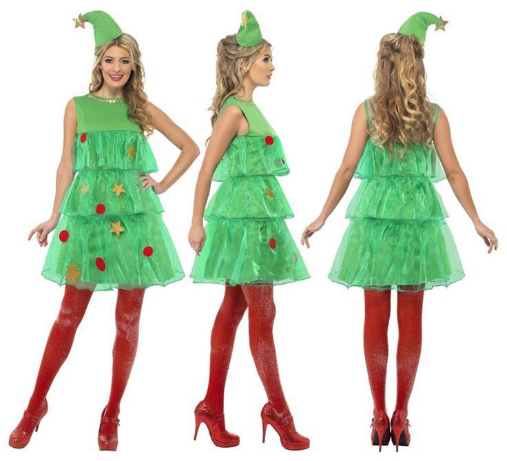 Disfraz de Árbol de Navidad con Tutú de Mujer en varias tallas. Se compone de Vestido y Gorro. Completa este navideño disfraz con artículos de nuestra sección de accesorios como medias, peluca, saco, guantes, maquillaje...