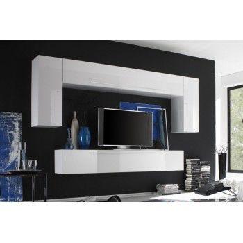 meuble tv mural laqu blanc lucas - Meuble Tv Blanc Glossy