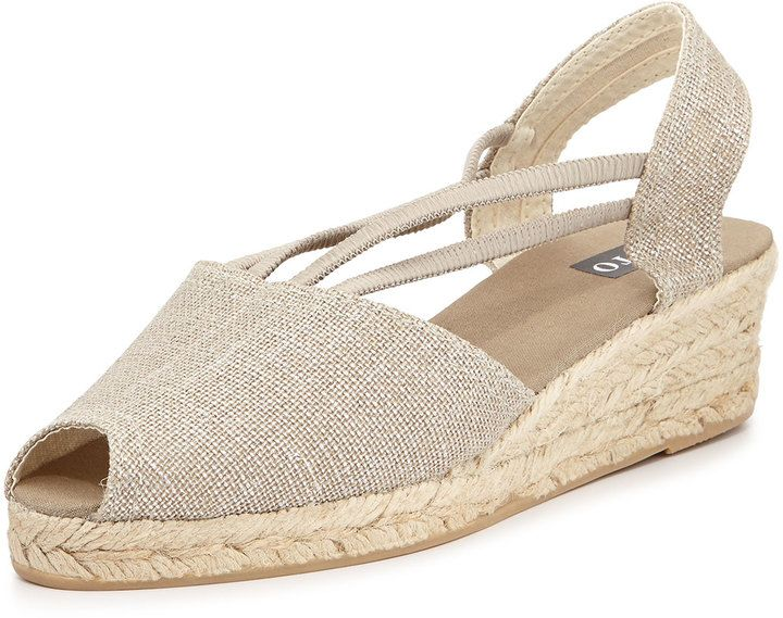 $42, Grey Canvas Wedge Sandals: Sesto Meucci Jose Metallic Espadrille Wedge Silver. Sold by Neiman Marcus.